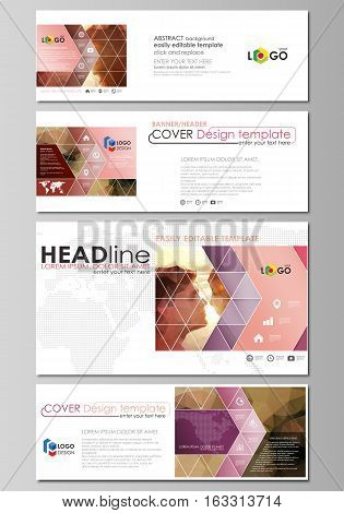 Social media and email headers set, modern banners. Business templates. Easy editable abstract design template, vector layouts in popular sizes. Romantic couple kissing. Beautiful background. Geometrical pattern in triangular style.