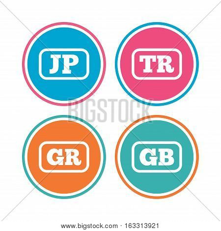 Language icons. JP, TR, GR and GB translation symbols. Japan, Turkey, Greece and England languages. Colored circle buttons. Vector