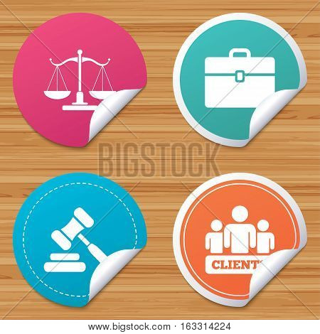 Round stickers or website banners. Scales of Justice icon. Group of clients symbol. Auction hammer sign. Law judge gavel. Court of law. Circle badges with bended corner. Vector