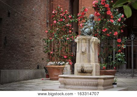 Fountain of child astride a turtle in Siena Toscana Italy