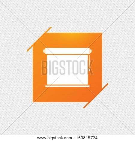 Louvers rolls sign icon. Window blinds or jalousie symbol. Orange square label on pattern. Vector