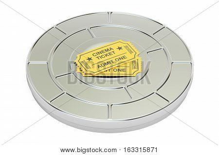 Movie cinema concept. 3D rendering isolated on white background