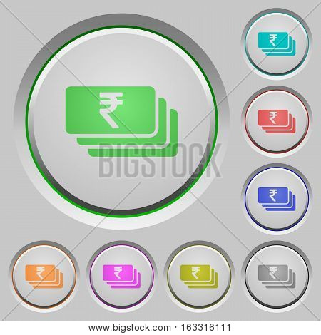 Indian Rupee banknotes color icons on sunk push buttons