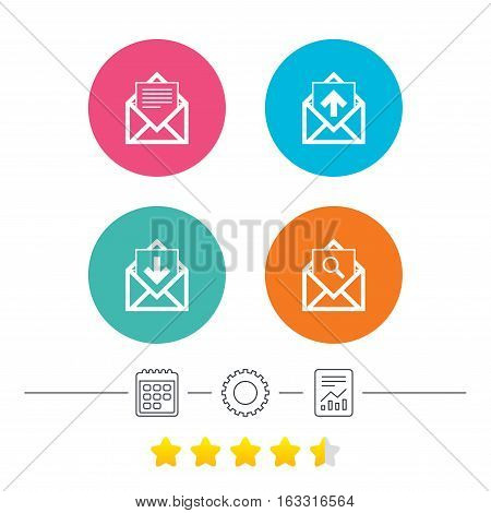 Mail envelope icons. Find message document symbol. Post office letter signs. Inbox and outbox message icons. Calendar, cogwheel and report linear icons. Star vote ranking. Vector