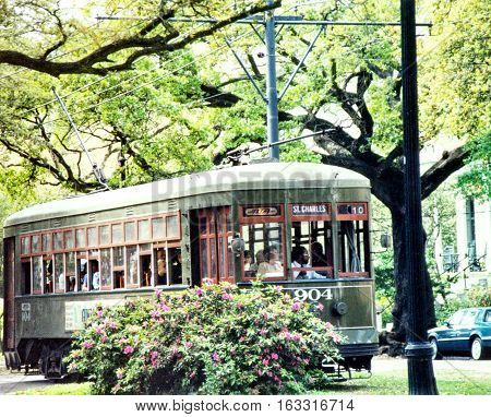 Tram (Green Street Car) in New Orleans USA March 2002