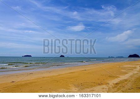 Blue sky and sand on Kram bay at beach Chumphon Province Thailand