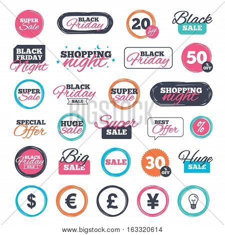 Sale shopping stickers and banners. Dollar, Euro, Pound and Yen currency icons. USD, EUR, GBP and JPY money sign symbols. Website badges. Black friday. Vector