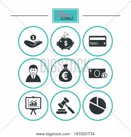 Money, cash and finance icons. Piggy bank, credit card and auction signs. Presentation, pie chart and businessman symbols. Round flat buttons with icons. Vector