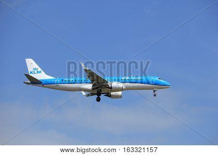 Amsterdam the Netherlands - July 21st 2016: PH-EZB KLM Cityhopper Embraer ERJ-190STD approaching Polderbaan runway at Schiphol Amsterdam Airport arriving from Geneva Switzerland