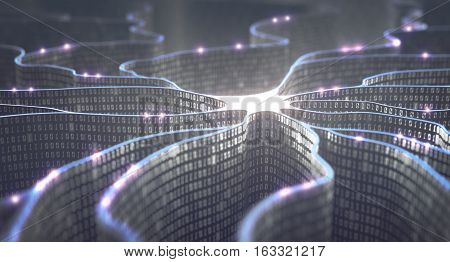 3D illustration. Artificial neuron in concept of artificial intelligence. Wall-shaped binary codes make transmission lines of pulses and/or information in an analogy to a microchip. Neural network and data transmission.