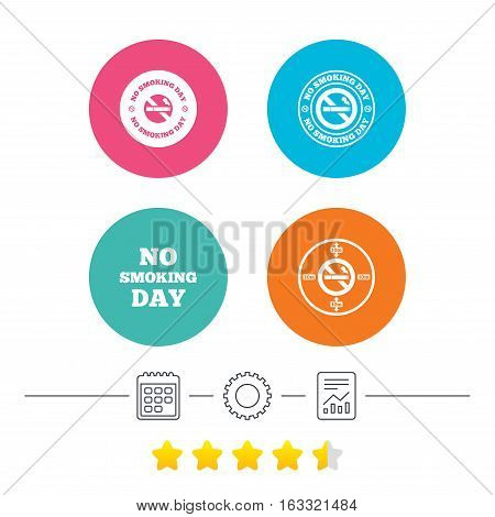No smoking day icons. Against cigarettes signs. Quit or stop smoking symbols. Calendar, cogwheel and report linear icons. Star vote ranking. Vector