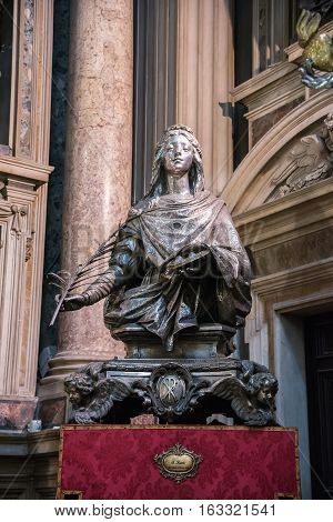 Naples Italy - August 30 2016: Sculpture of S.Lucia made by Vincezno Catello in 1902 located in Naples Cathedral.