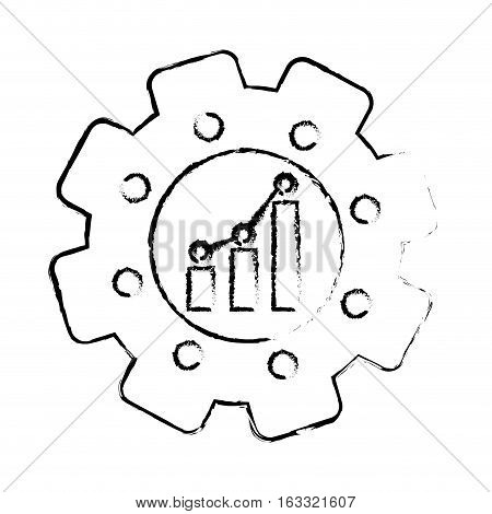 gear with graphic chart icon over white background. vector illustration