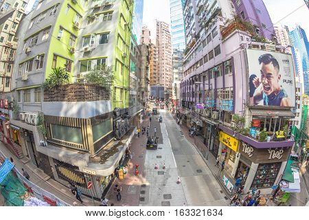 Hong Kong, China - December 4, 2016: fish eye view of Lyndhurst Terrace, Soho district, within the system of Central-Mid-levels escalator, the longest outdoor covered escalator system in the world.