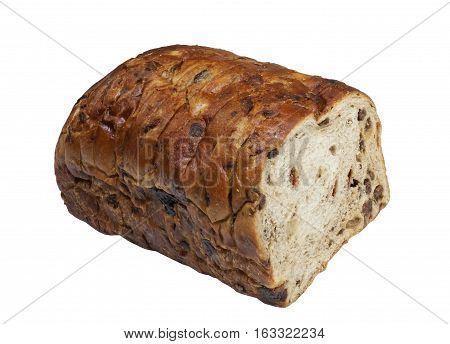 Freshly sliced cinnamon raison loaf on a white background