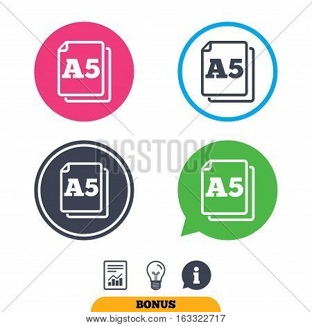 Paper size A5 standard icon. File document symbol. Report document, information sign and light bulb icons. Vector