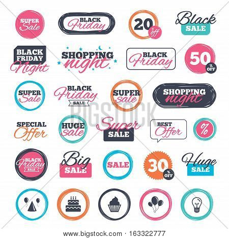 Sale shopping stickers and banners. Birthday party icons. Cake, balloon, hat and muffin signs. Celebration symbol. Cupcake sweet food. Website badges. Black friday. Vector