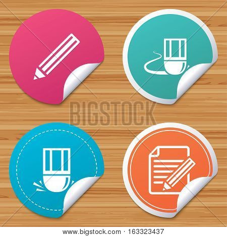 Round stickers or website banners. Pencil icon. Edit document file. Eraser sign. Correct drawing symbol. Circle badges with bended corner. Vector