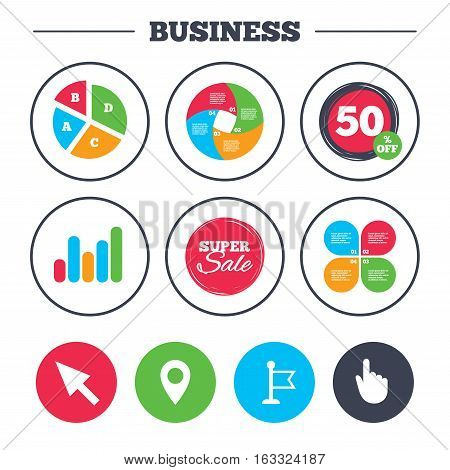 Business pie chart. Growth graph. Mouse cursor icon. Hand or Flag pointer symbols. Map location marker sign. Super sale and discount buttons. Vector