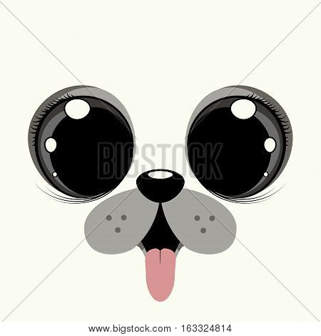Cover design with the face of a puppy dog with big eyes.