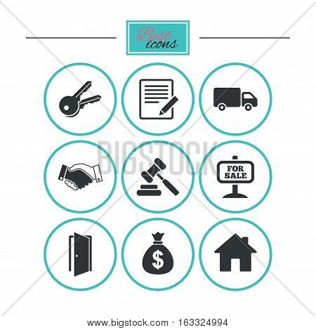 Real estate, auction icons. Handshake, for sale and money bag signs. Keys, delivery truck and door symbols. Round flat buttons with icons. Vector