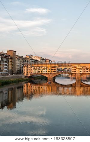 Arno River And Bridges Florence