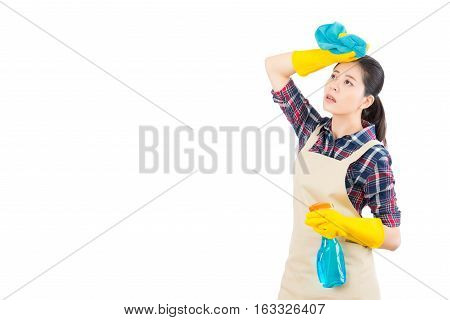 Tired Woman Standing With Cleaning Supplies