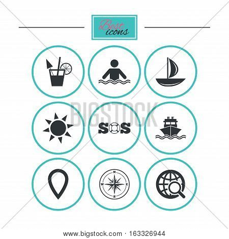 Cruise trip, ship and yacht icons. Travel, cocktail and sun signs. Sos, windrose compass and swimming symbols. Round flat buttons with icons. Vector