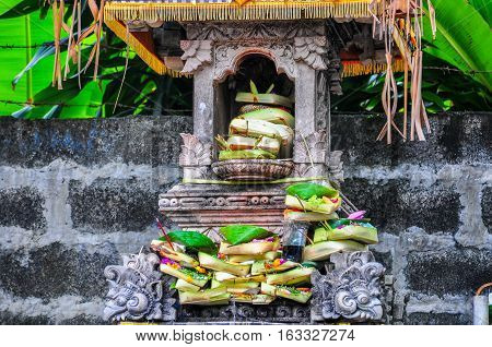 A view of Canang Sari.Its one of Daily Balinese Hindus people offerings made to thank the gods in praise and pray.