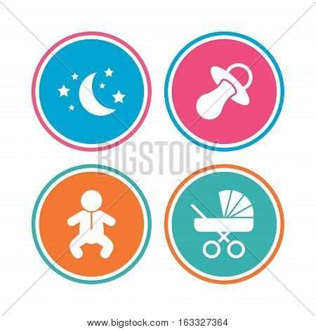 Moon and stars symbol. Baby infants icon. Buggy and dummy signs. Child pacifier and pram stroller. Colored circle buttons. Vector