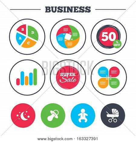 Business pie chart. Growth graph. Moon and stars symbol. Baby infants icon. Buggy and dummy signs. Child pacifier and pram stroller. Super sale and discount buttons. Vector