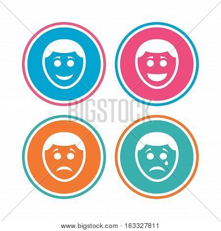 Human smile face icons. Happy, sad, cry signs. Happy smiley chat symbol. Sadness depression and crying signs. Colored circle buttons. Vector