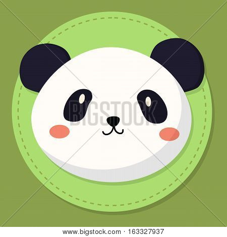 Cute panda bear head cartoon on green background vector illustration.