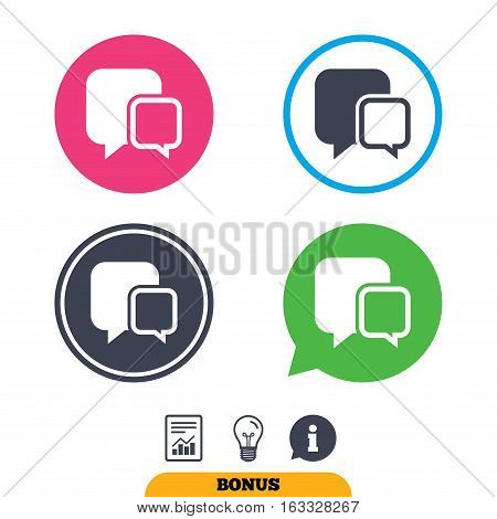 Chat sign icon. Speech bubbles symbol. Communication chat bubbles. Report document, information sign and light bulb icons. Vector