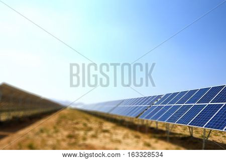 Solar panels with sky in desert , China