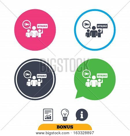 Strike sign icon. Group of people symbol. Industrial action. Holding protest banner and megaphone. Report document, information sign and light bulb icons. Vector