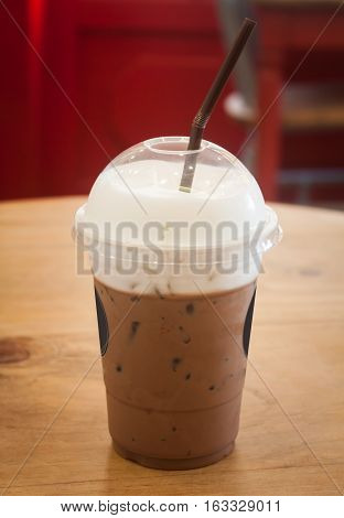 Iced coffee in coffee shop, stock photo