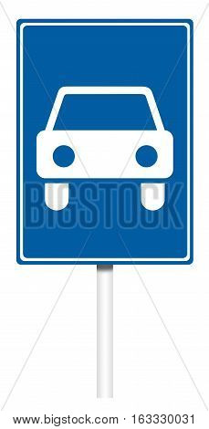 Informative sign isolated on white illustration - Road for cars