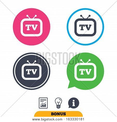Retro TV sign icon. Television set symbol. Report document, information sign and light bulb icons. Vector