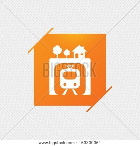 Underground sign icon. Metro train symbol. Orange square label on pattern. Vector