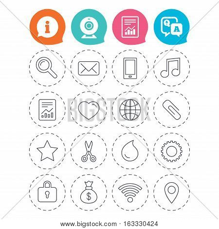 Universal icons. Smartphone, mail and musical note. Heart, globe and share symbols. Paperclip, scissors and water drop. Information, question and answer icons. Web camera, report signs. Vector