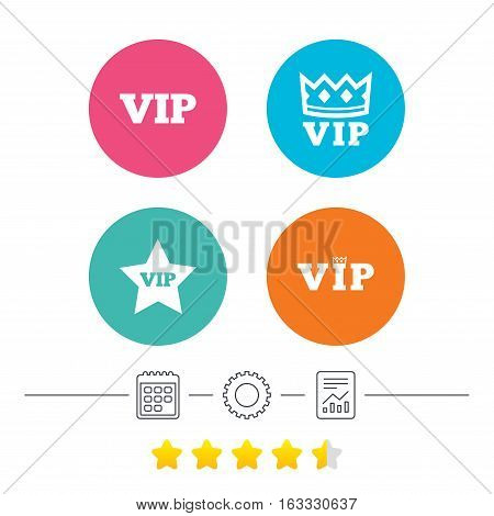 VIP icons. Very important person symbols. King crown and star signs. Calendar, cogwheel and report linear icons. Star vote ranking. Vector