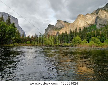 River in Yosemite Valley before the storm.