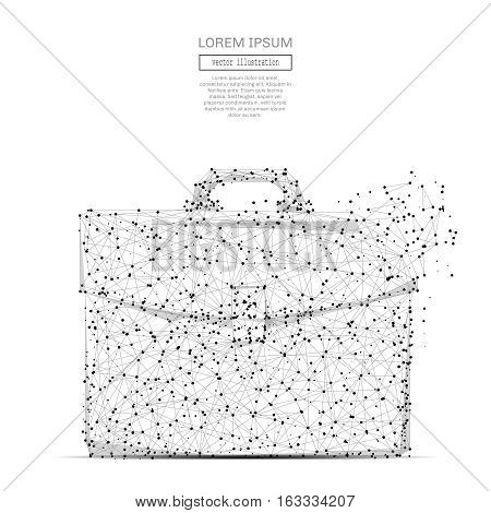 Abstract polygonal space low poly briefcase with connecting dots and lines. Wireframe Business briefcase and power connection structure. Futuristic Vector Illustration.
