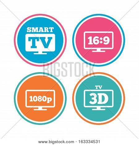 Smart TV mode icon. Aspect ratio 16:9 widescreen symbol. Full hd 1080p resolution. 3D Television sign. Colored circle buttons. Vector