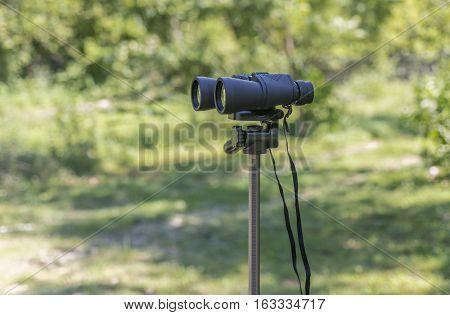 Binoculars Placed On A Tripod