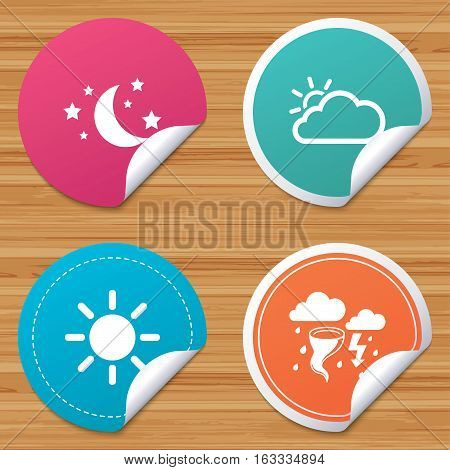 Round stickers or website banners. Weather icons. Moon and stars night. Cloud and sun signs. Storm or thunderstorm with lightning symbol. Circle badges with bended corner. Vector