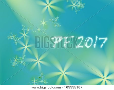 Green and teal PF 2017 good luck wishing card for New Year based on an elegant blended fractal background with simple flowers of different sizes and misty text.