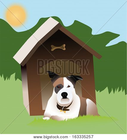 Dog in front of a kennel lies in the sun. IIllustration