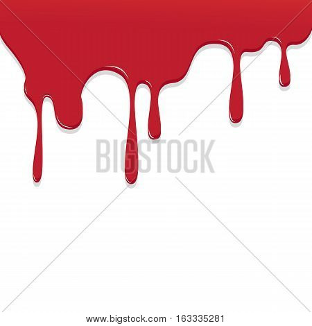 Paint Red Color Dripping, Color Droping Background Vector Illustration